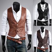 free shipping Men's Slim Casual Leather Vests Stylish 3 Buttons Suit Vest  Leather Shirts Vest !3 color,M-L-XL-XXL