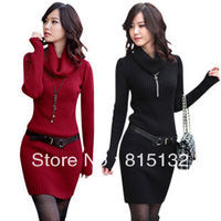 Fashion Autumn Long Sleeve High Collar Knitted Sweater Slim Mini Dress Women 4 Colors Free Shipping
