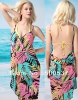 #14 black yellow leaf sarong bikini cover up Open-back cover-up dressSEXY BIKINI COVER BEACH DRESS,Spaghetti Strap Beach Dresses