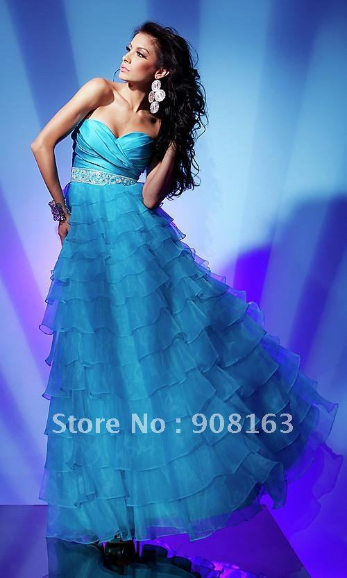 Floor Length Strapless Sweetheart A-line Gown Evening Dress 2013 with Layered Ruffle Skirt and Embellished Waistlinehot sale(China (Mainland))