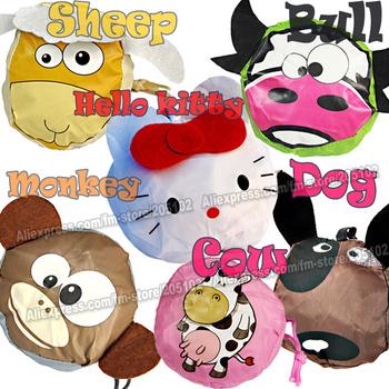 HOT ! 15pcs/lot Fashion cartoon animals folding fabric shopping bag,Sheep/monkey/bull/cow/dog/cat Eco-friendly foldable handbag