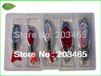 Free Shipping L012B Mix 5 pcs /set Fishing Lure fishing spoon bait spoon metal spinner (7g+10g+15g+20g+25g)