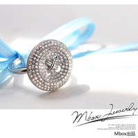 Mbox ring female 925 pure silver fashion top zircon exquisite elegant finger ring button