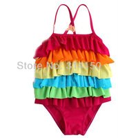 FREE SHIPPING----girl's colorful swimwear swimsuits children rainbow cake style bathing suits pretty color beachwear 1pcs s1215