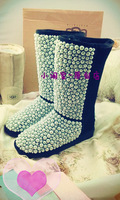 Customize high quality texture luxury full rhinestone pearl multi color snow boots