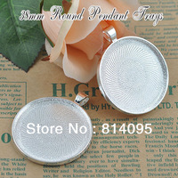 New!!38mm Sterling Silver Plated Round Blank Tray Pendants, Blank Bazel Settings, Blank Pendant Trays For Cabochons or Stickers