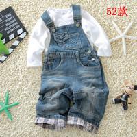 Free shipping!!Autumn infant denim bib pants child baby casual bib pants open file
