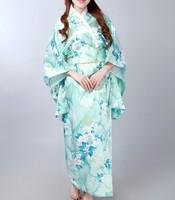 Fashion Light Blue Vintage Yukata Japanese Haori Kimono Obi Evening Dress one size Free Shipping H0047