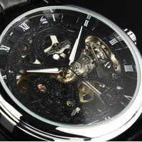 2014 Fashion Men's Black Stainless Steel Manual Skeleton Wrist Mechanical Watch Free Ship Gift