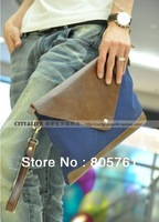 Promotion!new fashion Korean version of mens' shoulder bag canvas and high quality PU leather clutch bag male size:34*26cm