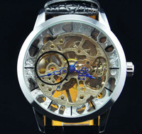 Mens See Through Silver Tone Men's Watch Mechanical Wristwatch Gift Free Ship