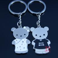 Personalized couple key chain cartoon black-and-white bear keychain logo souvenir 1.6 a pair