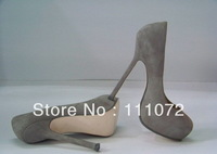 14cm women's shoes gray suede leather platform sexy shoes party shoes free shipping
