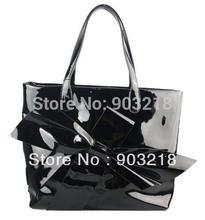 wholesale black patent tote bag
