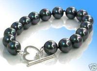 HOT Beautiful black shell pearl bracelet 10MM