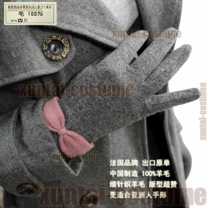 Solid color wool gloves thermal repair hand fashion five fingers gloves double(China (Mainland))