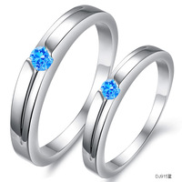 Valentine's Day gift Korean style couple ring Fashion accessories jewelry blue Crystal platinum lovers ring dj915