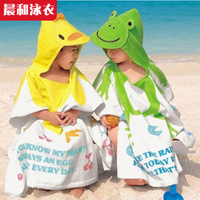 Free shipping! Swimwear high quality cartoon print with a hood baby child bath towel bathrobes beach towel
