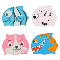 Free shipping! Swimwear cartoon print silica gel baby child swimming cap general chromophous