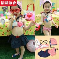 2014 Real Hot Sale Freeshipping Nylon Striped Free Shipping! Swimwear 2 - Baby Skirt Bikini Child Female Swimming Cap Cy1111