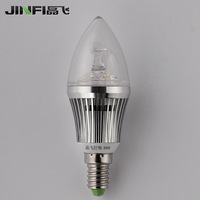 E14 small screw-mount pointed toe led energy saving bulb led lighting 3w silver candle lamp pendant light source