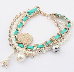 2013 Korea design bracelets&banges/New arrival fashion jewelry,alloy Rhinestone,fashion pearl bracelet(China (Mainland))