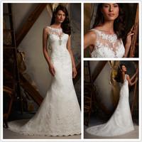 New Design KT-245 Elegant Sheath Lace High Beaded White/Ivory  Wedding Dress VESTIDO DE NOIVA