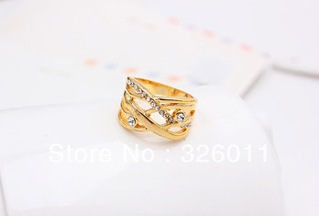 Free Shipping High Quality Hot Selling  New style Artificial diamond alloy ring gold plating new concise white stone laser rings