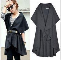 100 Free shipping 2014 newest women euro big brand style vest clothes coat outwear irregular cape jacket clothing