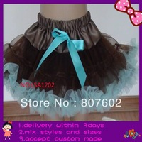 tutu with chocolate, aqua blue petti dress, outfit holiday petticoat,extra larger size fit for 9-14T