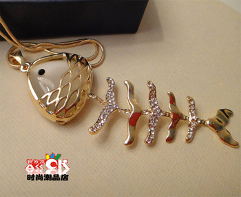 Gold-plated crystal cute fish bones sweater chain Korean fashion long necklace