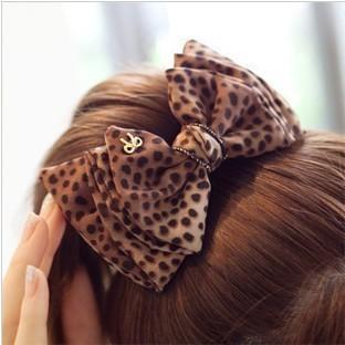 Free shipping (Mix order 10$)Chiffon material Han edition tire hair Leopard print rabbit bowknot dot  clip hairpin  B0004