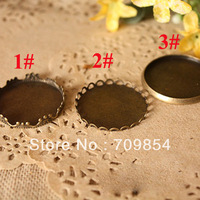 free shipping!!! 500pcs/lot 25mm pad antique bronze  tray for glass global vials 3 styles you can chose