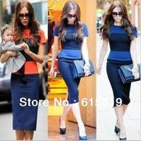 Spring Summer Hollywood stars' fashion elegant Lady's slim dress short sleeve dress with colorful stripe,freeshipping