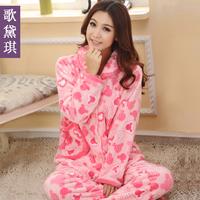cartoon sleepwear women's autumn winter flannel sleepwear thickening pajama sets with hood Free shipping