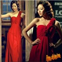 One shoulder oblique flower bride wedding formal dress red formal dress short design evening dress long design