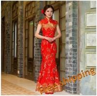 Lace fish tail slim improved cheongsam bride quality long design cheongsam   part dress