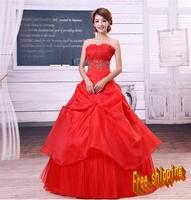 2013 bride red wedding dress tube top lace elegant wedding dress