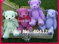 Promotional gift plush toys mini bear with ribbon teddy bear gift cute wedding bear colors assorted 20pcs/lot