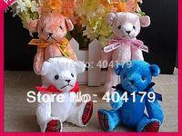 Promotional gift plush toys mini bear with ribbon teddy bear gift cute wedding bear with stripe foot  20pcs/lot