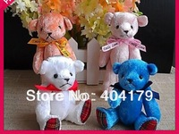 Promotional gift plush toys mini bear with ribbon teddy bear gift cute wedding bear with stripe foot  20pcs/lot