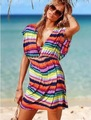 Free Shipping New Summer Wear Elastic Meryl Rainbow Mini Stripe Beach Dress Wholesale