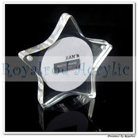 Pentagram shape acrylic magnet photo frame in clear