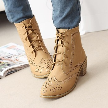 2014 new hot sale british style fashion  vintage brand lace women motorcycle boots leisure casual ankle boots free shipping