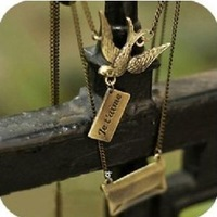 Min.order is $10 (mix order) 32B40  Fashion  Korea Retro Popular  lovely carrier pigeon necklace wholesale free shipping