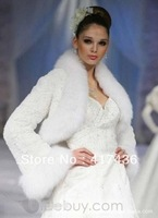 2013 Faux Fur Wedding Accessories Full Long Sleeve Bridal Shawl Wraps Bolero Party Prom Evening Jackets Cloak winter warm Coat