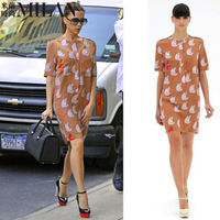 Victoria Beckham stars the same paragraph 2013 new spring and summer short-sleeved silk printed cartoon cat shift dress
