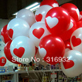 Free shipping, 12 inch latex heart printed balloon, 100pcs/lot