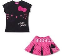 New Free shipping! 5pcs/lot!hello kitty Pleated skirt smiling face suit for children T-shirt +skirt /Children's clothing