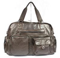 Free ship Wholesale Retail Fashion Men's Brown Full Grain Real Leather Tote Travel Bag Duffle Gym Bag Luggage Bag Shoulder Bag